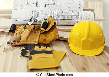 木制, 桌子, 工作, 工具