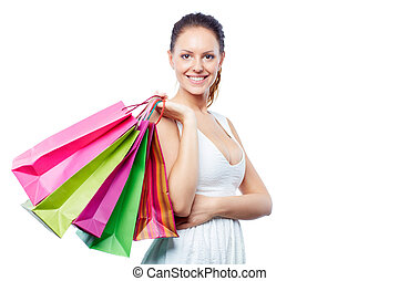Happy shopper - Portrait of happy female with shopping bags...
