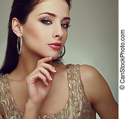 Art portrait of fashion makeup female model with moden...