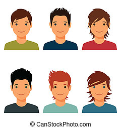 Set of cute young boys with various hair style