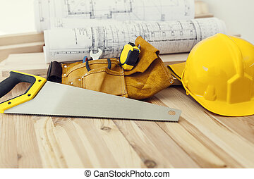 Close up of work tools for carpenter