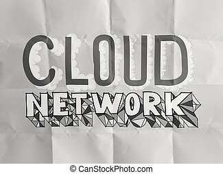 design word hand drawn CLOUD NETWORK on crumpled paper as concept