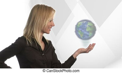 Woman Looking at Globe - Stock Video Footage of a Woman with...