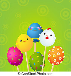 Happy Easter Color Card, With Gradient Mesh, Vector...