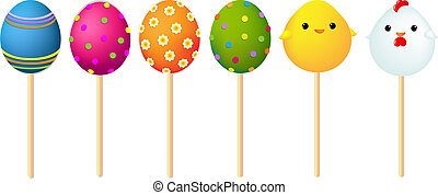 Set Of Color Easter Eggs, With Gradient Mesh, Vector...