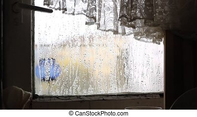 Condensation on Shattered Window - Condensation on glass of...