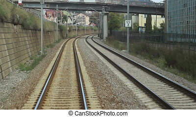 Running Railroad - Moving view of railways tracks while...