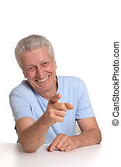 Elderly man ponting with fingers - Mature man pointing with...