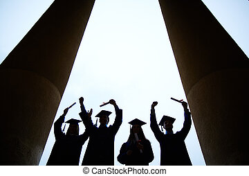 End of college - Outlines of four graduates with...