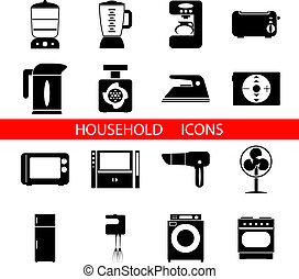 Household Icons and Symbols Isolated Silhouette Set Vector...