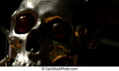Skull of a terminator sliding closeup