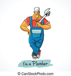 Plumber with monkey wrench - Plumber worker in shirt overall...