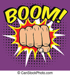Fist comic poster - Pop art comic poster with boom clenched...