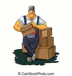 Delivery man with boxes - Strong delivery moving service...