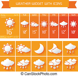 Weather widget icons set - Weather extended forecast...