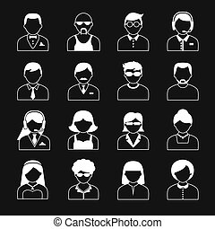 Avatar Characters Icons Set - Avatar icons users head white...