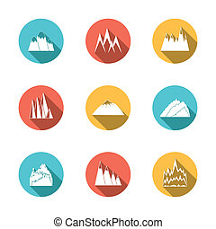 Snowy Mountains Icons Set - A collection of snowy mountains...