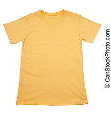 yellow t-shirt isolated on white
