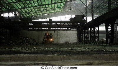 Construction machine inside industrial interior - Large...