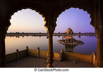 Gadi Sagar lake in Jaisalmer, Rajasthan, India - Gadi Sagar...