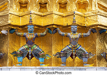 The Statues of Demon - Guardians (Giant) protected golden...
