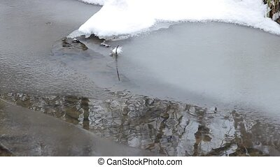 Icy Water Stream - Skim of ice forms on the surface of a...