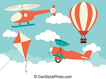 Air Travel - Helicopter, Plane, Kite Hot Air Balloon
