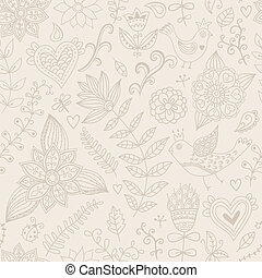 Seamless texture with flowers, birds and butterflies...