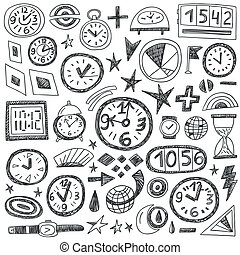 Time Doodles - set icons in sketch style