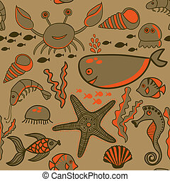 Sea background, marine vector seamless pattern with fish,...