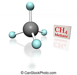Metano white - molecular model of methane with label on...