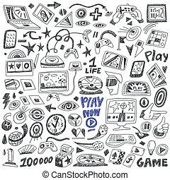 computers games - doodles set vector - computers games - set...