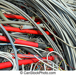 many obsolete electrical cables and copper cables in a...