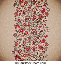 Vector floral background. Vintage retro background with floral o