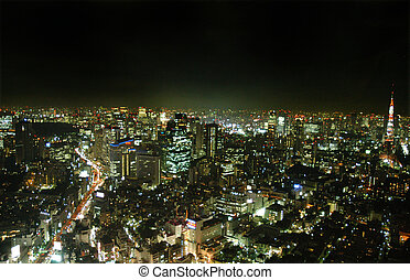 Tokyo by night - View of Tokyo at night with a high view...