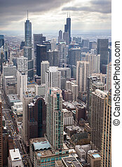 Chicago Skyline - Chicago skyline on a stormy winters day in...