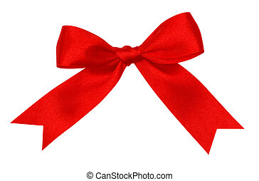 red silk ribbon knot on white background
