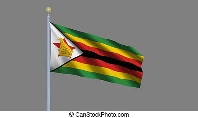 Flag of Zimbabwe waving in the wind