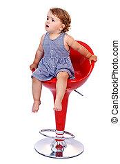 Little toddler girl on red bar stool