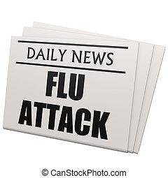 Newspaper flu attack