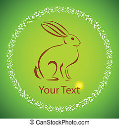 vector cartoon rabbit - Easter card with rabbit outline