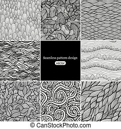 Set of eight black and white wave patterns (seamlessly...
