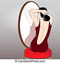 Beautiful girl making hair bun before a mirror. Vector...