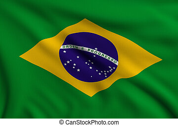Flag of Brazil - 3d illustration flag of Brazil
