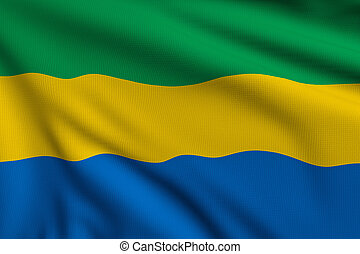 Flag of Gabon - 3d illustration flag of Gabon