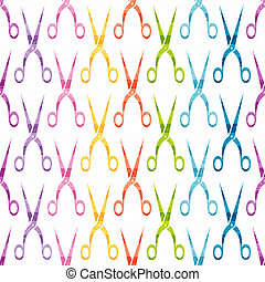 Vector seamless pattern with colored scissors.