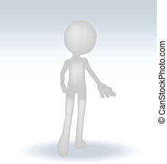 3d man standing hands open