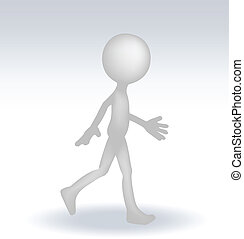 3d man with a stairs - EPS 10 Vector Illustration of 3d man...