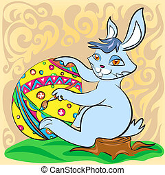 Easter bunny with big egg and brush on a patterned...