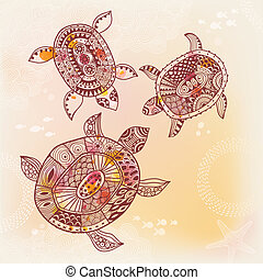 Background with turtle. Vector illustration
